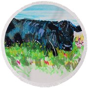 Black Cow Lying Down Painting Round Beach Towel