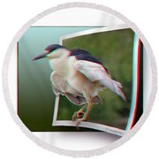 Black Crowned Night Heron - Use Red-cyan 3d Glasses Round Beach Towel