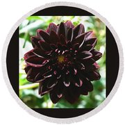 Black Dalia  Round Beach Towel