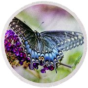 Black Eastern Swallowtail Round Beach Towel