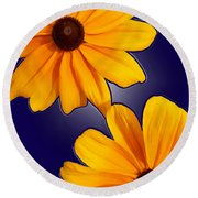 Black-eyed Susans On Blue Round Beach Towel