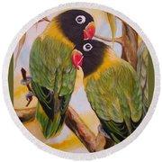 Black Faced Love Birds.  Chloe The Flying Lamb Productions  Round Beach Towel