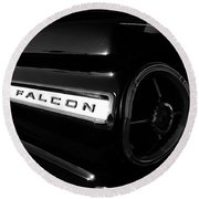 Black Falcon Round Beach Towel by David Lee Thompson