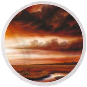 Black Fire Round Beach Towel