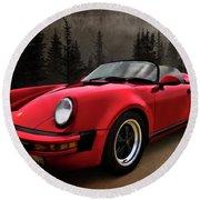 Black Forest - Red Speedster Round Beach Towel by Douglas Pittman