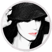 Black Hat Round Beach Towel