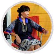 Black Hmong Sapa 1 Round Beach Towel