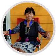 Black Hmong Sapa 3 Round Beach Towel