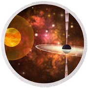 Black Hole Round Beach Towel by Corey Ford