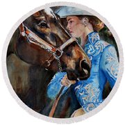 Black Horse And Cowgirl   Round Beach Towel