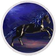 Black Horse At Night Round Beach Towel