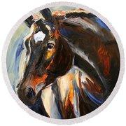 Black Horse Oil Painting Round Beach Towel