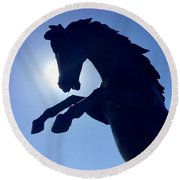 Black Horse Round Beach Towel