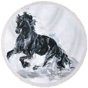 Black Horse Round Beach Towel
