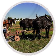 Black Horses With Sulky Plow Two  Round Beach Towel