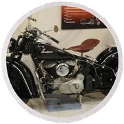 Black Indian Motorcycle Round Beach Towel
