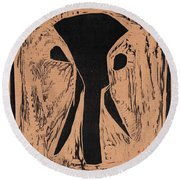 Black Ivory Issue 1 Woodcut Round Beach Towel