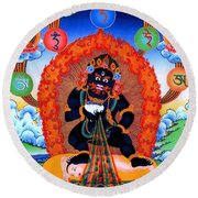 Black Jambhala  1 Round Beach Towel