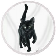 Black Kitten Round Beach Towel