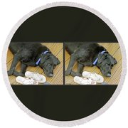 Black Lab - Gently Cross Your Eyes And Focus On The Middle Image Round Beach Towel
