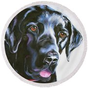 Black Lab No Ordinary Love Round Beach Towel