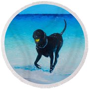 Black Labrador Painting Round Beach Towel