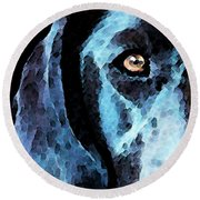 Black Labrador Retriever Dog Art - Hunter Round Beach Towel by Sharon Cummings