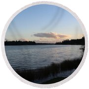 Black Lake Round Beach Towel