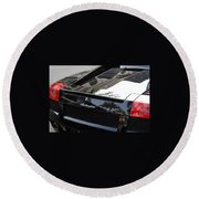 Black Lamborghini Sports Car  Round Beach Towel
