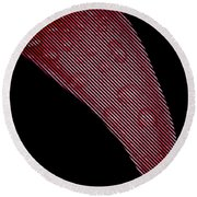 Black Lines On Red Flower Round Beach Towel
