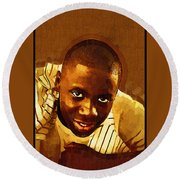 Young Black Male Teen 1 Round Beach Towel