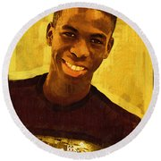Young Black Male Teen 2 Round Beach Towel