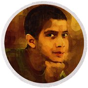 Young Black Male Teen 3 Round Beach Towel