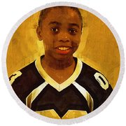 Young Black Male Teen 6 Round Beach Towel