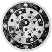 Mandala-black Round Beach Towel