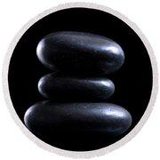 Black Meditation Stones Round Beach Towel