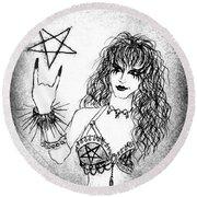 Black Metal Girl. Sofia Metal Queen. Sketch  Round Beach Towel