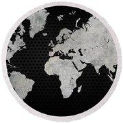 Black Metal Industrial World Map Round Beach Towel