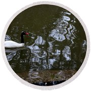 Black Neck Swan In Review Round Beach Towel