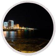 Black Night Bright Lights - Sliema Famous Waterfront Round Beach Towel