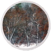 Black Oaks In Snowstorm Yosemite National Park Round Beach Towel