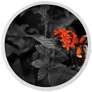 Black-orange Butterfly Round Beach Towel