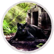 Black Panther Custodian Of Ancient Temple Ruins  Round Beach Towel