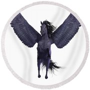 Black Pegasus On White Round Beach Towel