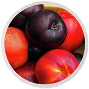 Black Plums And Nectarines In A Wooden Bowl Round Beach Towel