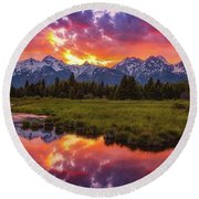 Black Ponds Sunset Round Beach Towel