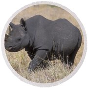 Black Rhino On The Masai Mara Round Beach Towel