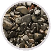 Black River Stones Portrait Round Beach Towel by Steve Gadomski