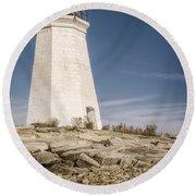 Black Rock Harbor Lighthouse II Round Beach Towel