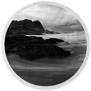 Black Rock  Swirl Round Beach Towel